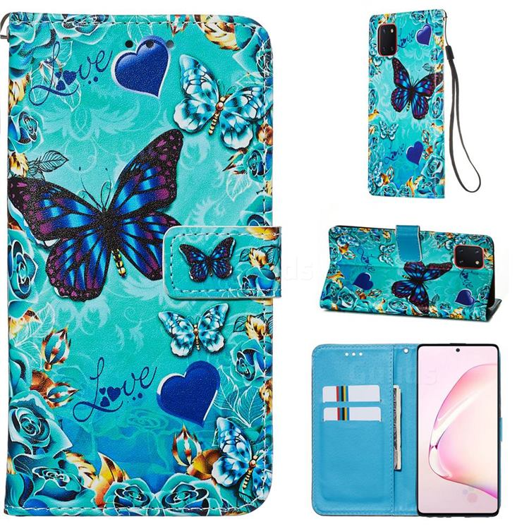 Love Butterfly Matte Leather Wallet Phone Case for Samsung Galaxy Note 10 Lite