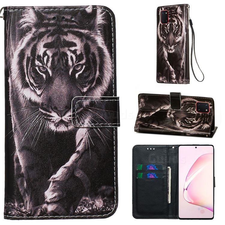 Black and White Tiger Matte Leather Wallet Phone Case for Samsung Galaxy Note 10 Lite