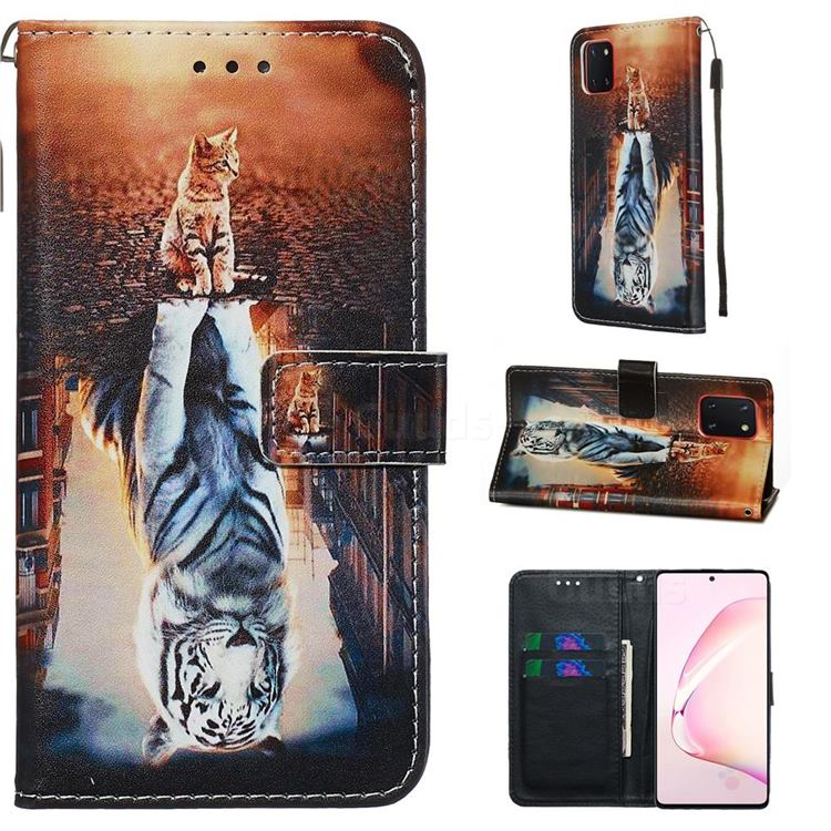 Cat and Tiger Matte Leather Wallet Phone Case for Samsung Galaxy Note 10 Lite