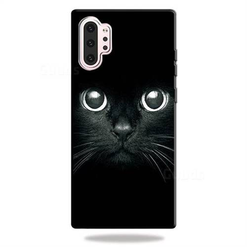 Bearded Feline 3D Embossed Relief Black TPU Cell Phone Back Cover for Samsung Galaxy Note 10+ (6.75 inch) / Note10 Plus