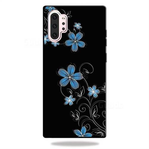 Little Blue Flowers 3D Embossed Relief Black TPU Cell Phone Back Cover for Samsung Galaxy Note 10+ (6.75 inch) / Note10 Plus