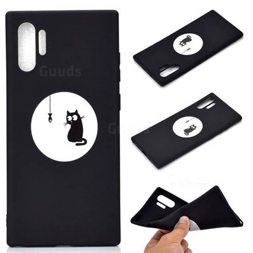 Fish Fishing Cat Chalk Drawing Matte Black TPU Phone Cover for Samsung Galaxy Note 10+ (6.75 inch) / Note10 Plus