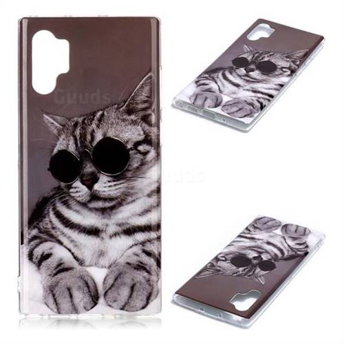 Kitten with Sunglasses Soft TPU Cell Phone Back Cover for Samsung Galaxy Note 10+ (6.75 inch) / Note10 Plus
