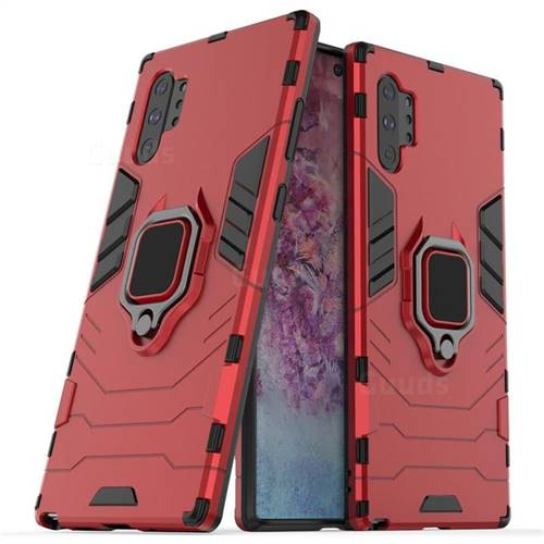 Black Panther Armor Metal Ring Grip Shockproof Dual Layer Rugged Hard Cover for Samsung Galaxy Note 10+ (6.75 inch) / Note10 Plus - Red