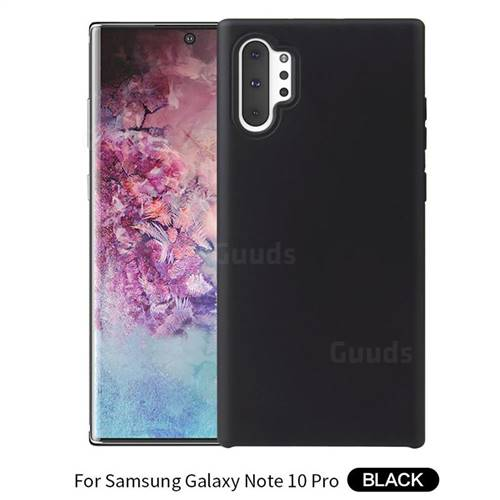 Howmak Slim Liquid Silicone Rubber Shockproof Phone Case Cover for Samsung Galaxy Note 10+ (6.75 inch) / Note10 Plus - Black