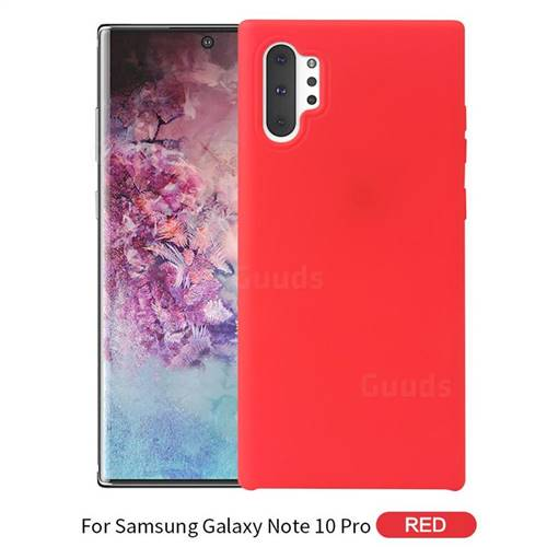Howmak Slim Liquid Silicone Rubber Shockproof Phone Case Cover for Samsung Galaxy Note 10+ (6.75 inch) / Note10 Plus - Red