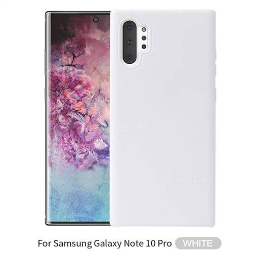 Howmak Slim Liquid Silicone Rubber Shockproof Phone Case Cover for Samsung Galaxy Note 10+ (6.75 inch) / Note10 Plus - White