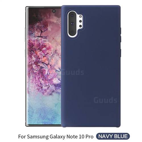 Howmak Slim Liquid Silicone Rubber Shockproof Phone Case Cover for Samsung Galaxy Note 10 Pro (6.75 inch) / Note 10+ - Midnight Blue
