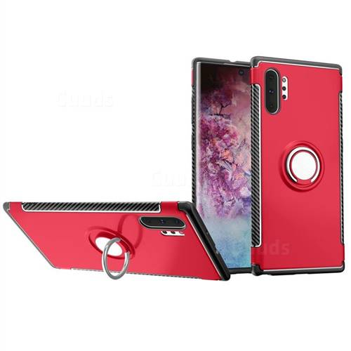 Armor Anti Drop Carbon PC + Silicon Invisible Ring Holder Phone Case for Samsung Galaxy Note 10+ (6.75 inch) / Note10 Plus - Red