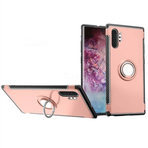 Armor Anti Drop Carbon PC + Silicon Invisible Ring Holder Phone Case for Samsung Galaxy Note 10+ (6.75 inch) / Note10 Plus - Rose Gold
