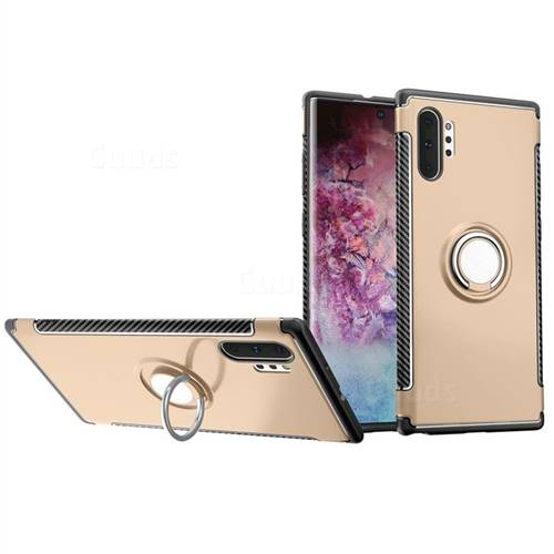 Armor Anti Drop Carbon PC + Silicon Invisible Ring Holder Phone Case for Samsung Galaxy Note 10+ (6.75 inch) / Note10 Plus - Champagne