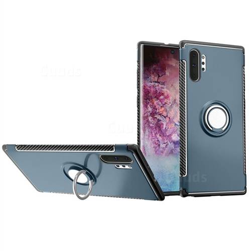 Armor Anti Drop Carbon PC + Silicon Invisible Ring Holder Phone Case for Samsung Galaxy Note 10+ (6.75 inch) / Note10 Plus - Navy
