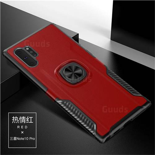 Knight Armor Anti Drop PC + Silicone Invisible Ring Holder Phone Cover for Samsung Galaxy Note 10+ (6.75 inch) / Note10 Plus - Red