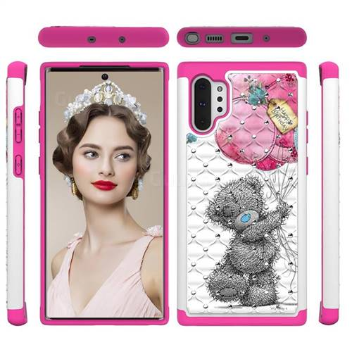 Gray Bear Studded Rhinestone Bling Diamond Shock Absorbing Hybrid Defender Rugged Phone Case Cover for Samsung Galaxy Note 10+ (6.75 inch) / Note10 Plus