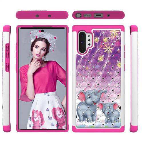 Fireworks Jumbo Studded Rhinestone Bling Diamond Shock Absorbing Hybrid Defender Rugged Phone Case Cover for Samsung Galaxy Note 10+ (6.75 inch) / Note10 Plus