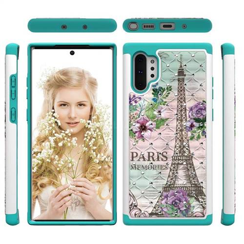 Fresh Tower Studded Rhinestone Bling Diamond Shock Absorbing Hybrid Defender Rugged Phone Case Cover for Samsung Galaxy Note 10+ (6.75 inch) / Note10 Plus