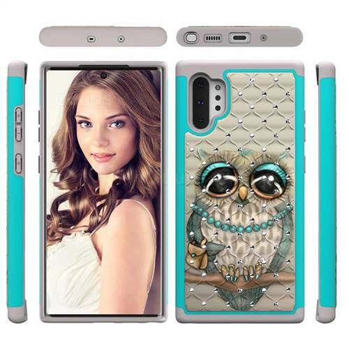 Sweet Gray Owl Studded Rhinestone Bling Diamond Shock Absorbing Hybrid Defender Rugged Phone Case Cover for Samsung Galaxy Note 10+ (6.75 inch) / Note10 Plus