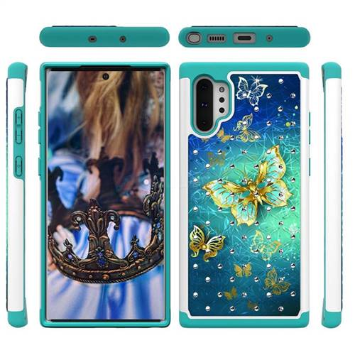 Gold Butterfly Studded Rhinestone Bling Diamond Shock Absorbing Hybrid Defender Rugged Phone Case Cover for Samsung Galaxy Note 10+ (6.75 inch) / Note10 Plus