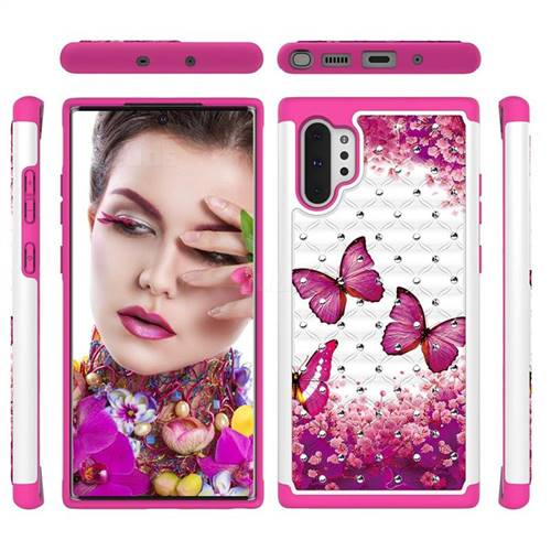 Rose Butterfly Studded Rhinestone Bling Diamond Shock Absorbing Hybrid Defender Rugged Phone Case Cover for Samsung Galaxy Note 10+ (6.75 inch) / Note10 Plus