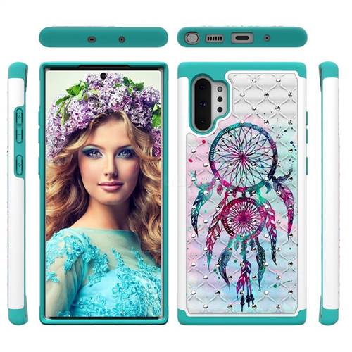 Color Drops Wind Chimes Studded Rhinestone Bling Diamond Shock Absorbing Hybrid Defender Rugged Phone Case Cover for Samsung Galaxy Note 10+ (6.75 inch) / Note10 Plus