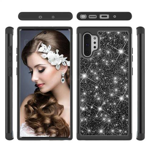 Glitter Rhinestone Bling Shock Absorbing Hybrid Defender Rugged Phone Case Cover for Samsung Galaxy Note 10+ (6.75 inch) / Note10 Plus - Black