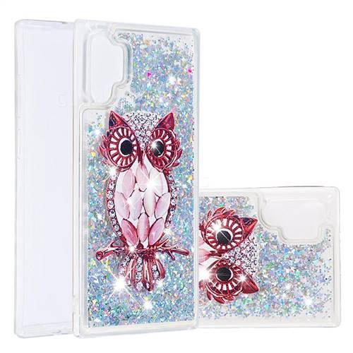 Seashell Owl Dynamic Liquid Glitter Quicksand Soft TPU Case for Samsung Galaxy Note 10+ (6.75 inch) / Note10 Plus