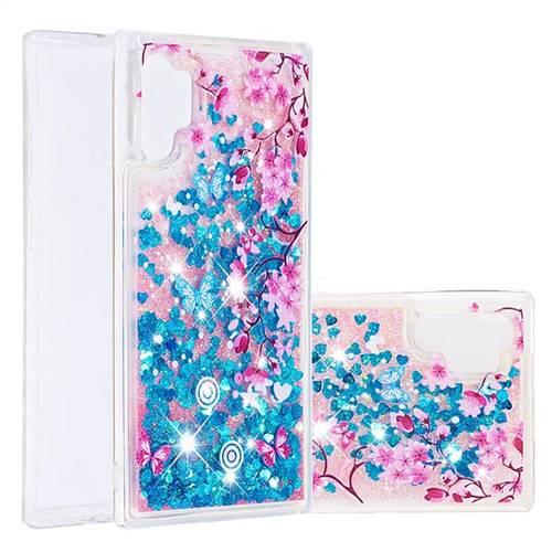 Blue Plum Blossom Dynamic Liquid Glitter Quicksand Soft TPU Case for Samsung Galaxy Note 10+ (6.75 inch) / Note10 Plus