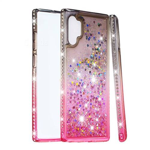 Diamond Frame Liquid Glitter Quicksand Sequins Phone Case for Samsung Galaxy Note 10+ (6.75 inch) / Note10 Plus - Gray Pink