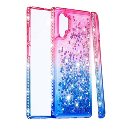 Diamond Frame Liquid Glitter Quicksand Sequins Phone Case for Samsung Galaxy Note 10+ (6.75 inch) / Note10 Plus - Pink Blue