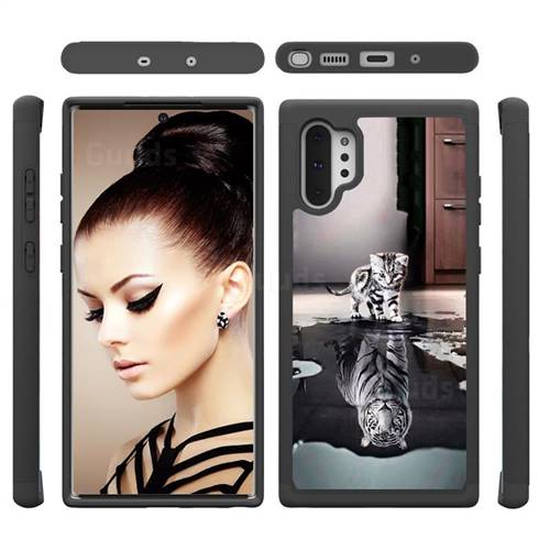 Cat and Tiger Shock Absorbing Hybrid Defender Rugged Phone Case Cover for Samsung Galaxy Note 10+ (6.75 inch) / Note10 Plus