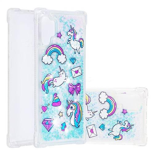 Fashion Unicorn Dynamic Liquid Glitter Sand Quicksand Star TPU Case for Samsung Galaxy Note 10+ (6.75 inch) / Note10 Plus