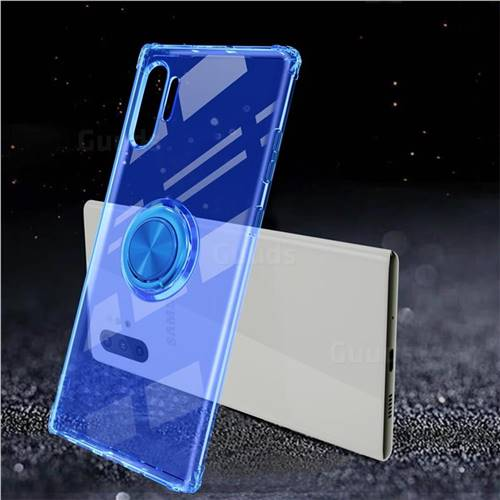 Anti-fall Invisible Press Bounce Ring Holder Phone Cover for Samsung Galaxy Note 10+ (6.75 inch) / Note10 Plus - Sapphire Blue