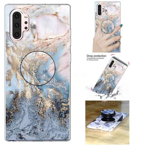 Golden Gray Marble Pop Stand Holder Varnish Phone Cover for Samsung Galaxy Note 10+ (6.75 inch) / Note10 Plus