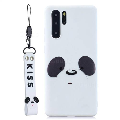 White Feather Panda Soft Kiss Candy Hand Strap Silicone Case for Samsung Galaxy Note 10+ (6.75 inch) / Note10 Plus