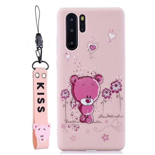 Pink Flower Bear Soft Kiss Candy Hand Strap Silicone Case for Samsung Galaxy Note 10+ (6.75 inch) / Note10 Plus