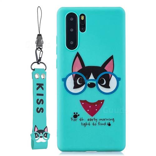 Green Glasses Dog Soft Kiss Candy Hand Strap Silicone Case for Samsung Galaxy Note 10+ (6.75 inch) / Note10 Plus