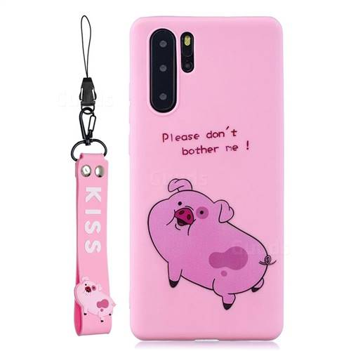 Pink Cute Pig Soft Kiss Candy Hand Strap Silicone Case for Samsung Galaxy Note 10+ (6.75 inch) / Note10 Plus