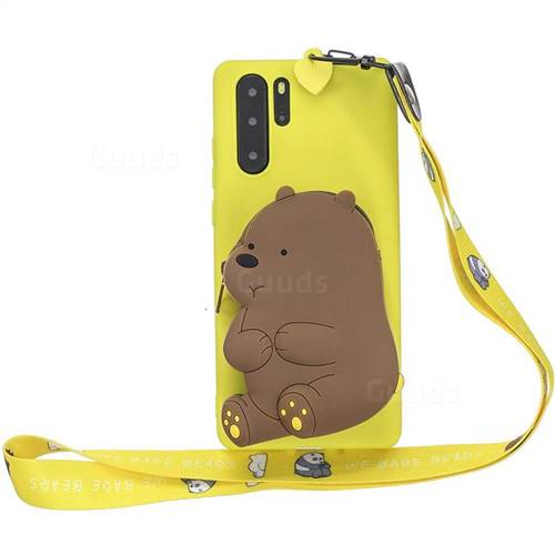 Yellow Bear Neck Lanyard Zipper Wallet Silicone Case for Samsung Galaxy Note 10+ (6.75 inch) / Note10 Plus