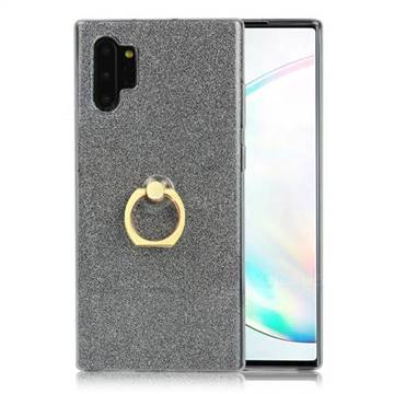 Luxury Soft TPU Glitter Back Ring Cover with 360 Rotate Finger Holder Buckle for Samsung Galaxy Note 10+ (6.75 inch) / Note10 Plus - Black