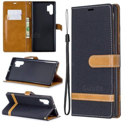 Jeans Cowboy Denim Leather Wallet Case for Samsung Galaxy Note 10+ (6.75 inch) / Note10 Plus - Black