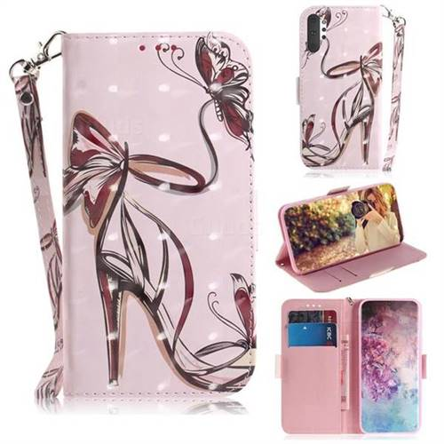 Butterfly High Heels 3D Painted Leather Wallet Phone Case for Samsung Galaxy Note 10+ (6.75 inch) / Note10 Plus