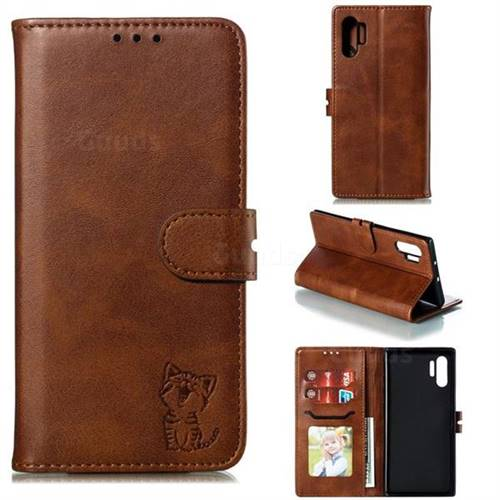 Embossing Happy Cat Leather Wallet Case for Samsung Galaxy Note 10+ (6.75 inch) / Note10 Plus - Brown