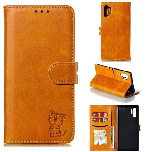 Embossing Happy Cat Leather Wallet Case for Samsung Galaxy Note 10+ (6.75 inch) / Note10 Plus - Yellow