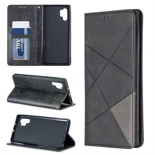 Prismatic Slim Magnetic Sucking Stitching Wallet Flip Cover for Samsung Galaxy Note 10+ (6.75 inch) / Note10 Plus - Black