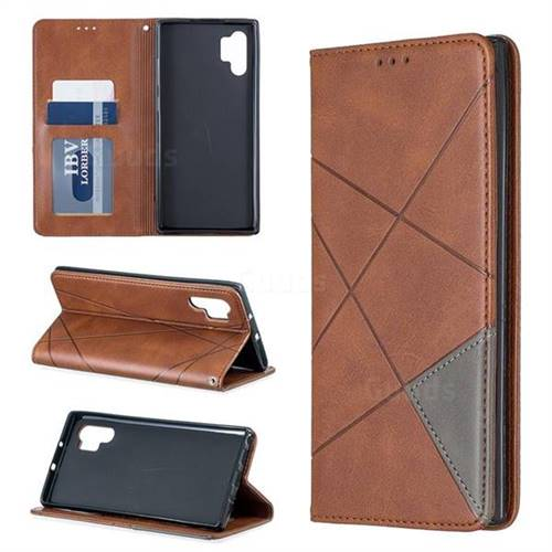 Prismatic Slim Magnetic Sucking Stitching Wallet Flip Cover for Samsung Galaxy Note 10+ (6.75 inch) / Note10 Plus - Brown