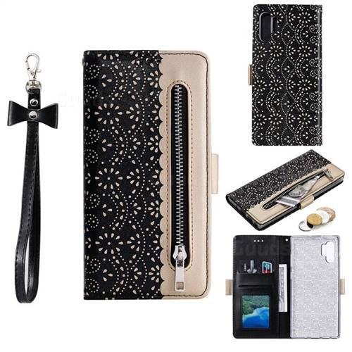 Luxury Lace Zipper Stitching Leather Phone Wallet Case for Samsung Galaxy Note 10+ (6.75 inch) / Note10 Plus - Black