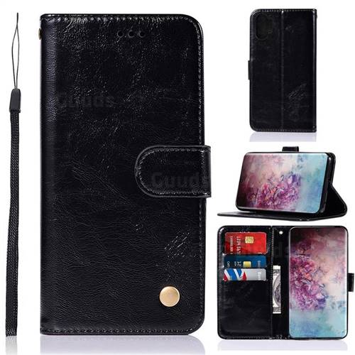 Luxury Retro Leather Wallet Case for Samsung Galaxy Note 10+ (6.75 inch) / Note10 Plus - Black