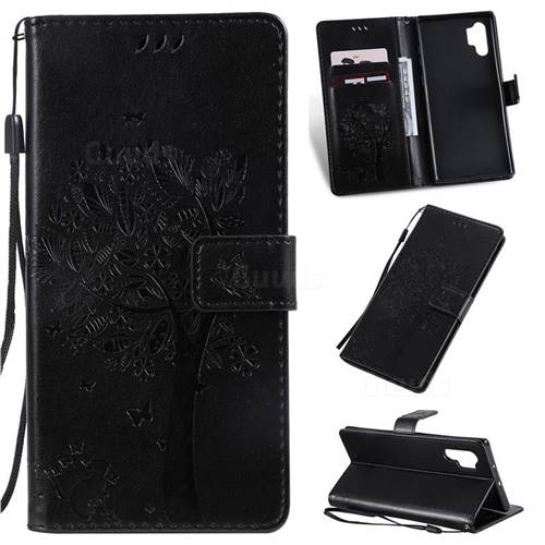 Embossing Butterfly Tree Leather Wallet Case for Samsung Galaxy Note 10+ (6.75 inch) / Note10 Plus - Black