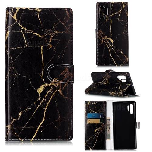 Black Gold Marble PU Leather Wallet Case for Samsung Galaxy Note 10+ (6.75 inch) / Note10 Plus