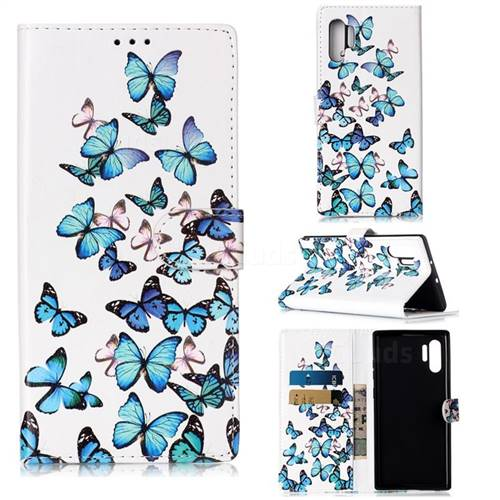 Blue Vivid Butterflies PU Leather Wallet Case for Samsung Galaxy Note 10+ (6.75 inch) / Note10 Plus